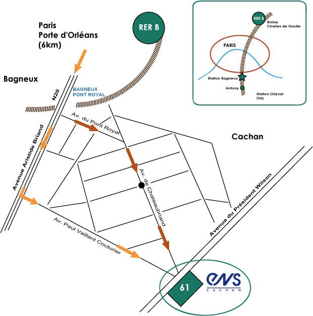 Plan d'accès à l'ENS Cachan (campus de Cachan)
