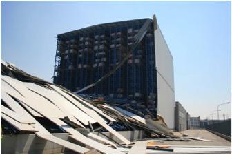 Effondrement d'un bâtiment de stockage - Séisme d'Emilie Romagne - 2012