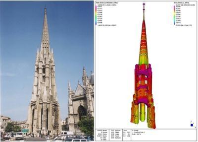 Flèche Saint-Michel à Bordeaux : Photo de l'édifice et image de la maquette numérique